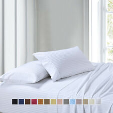300 Thread Count Queen Attached Combed Cotton Striped Waterbed Sheet Set