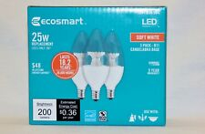 2-PACKs of 3 EcoSmart 25W Dimmable LED light bulb B11 candelabra base soft white