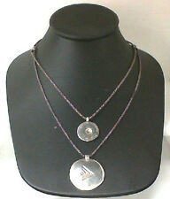 """Silpada 20"""" Sterling Silver Hammered Dual Pendant Layered Necklace"""