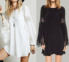 Women Beach Party Flared Long Sleeve Crochet Loose Short Mini Dress Tops Blouse