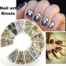 300Pcs 3D Gold Silver Metal Rivets Stud Nail Art Tips DIY Manicure Decoration