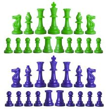 Staunton Triple Weighted Chess Pieces – Full Set 34 Neon Green & Royal Blue