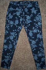 "Women's Jeans sz 2 short AMERICAN EAGLE ""Stretch Jegging"" Blue Floral 28x27"