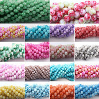 Wholesale 50Pcs Colorful Floral Czech Glass Round Loose Spacer Bead 6mm 8mm 10mm