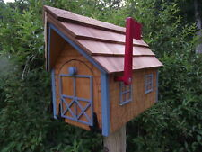 Amish Handmade Handcrafted Rural Mailbox w Flag USPS Log Cabin Lt Blue Trim