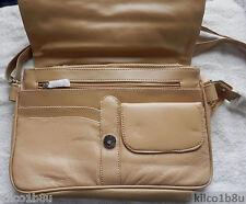 """Genuine Leather Shoulder Bag/Handbag #78 TAN 11-1/2"""", 2-1/2"""", 26"""" - 50"""", 8-1/2"""""""