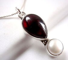 Freshwater Pearl and Garnet Necklace 925 Sterling Silver Pear Shaped 3.75ct New