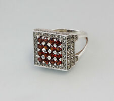 925 Silver Garnet-Ring Big 60 New 7125315