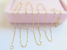 New Real Fine Solid 18K Yellow Gold Elegant Women Box Chain Necklace/ 1g
