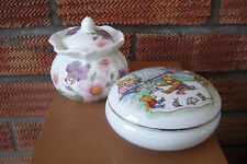 Two Dressing Table Trinket Boxes Decorated with Flowers & Teddy Bear Picnic