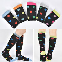 KE_ Sports Love Heart Stockings Elastic Graduated Compression Knee High Socks
