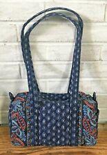 Vera Bradley CLASSIC NAVY Blue Print Duffel Style Handbag Shoulder Purse EUC