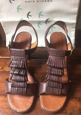 Chie Mihara ~ Dark Brown Leather Sandal Shoe W High Heel eu37 uk4