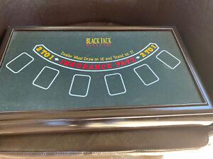 "3 in 1 Vegas Casino Trio Wooden Craps/Roulette/ Blackjack Table 19 1/2""x11.5"""