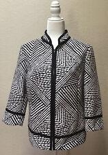 Chico's Jacket Size 2 Blazer 3/4 Sleeves Hook Front Black White Print Large
