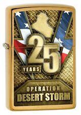 Zippo 29177 Operation Desert Storm 25th Anniversary Brushed Brass Lighter