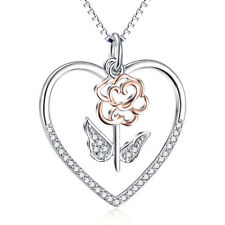 Rose Gold Flower Eternal Love Necklace 925 Sterling Silver Crystal Heart Pendant