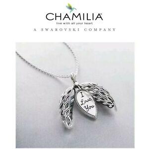 """Genuine, CHAMILIA 925 Silver Origins Open Work I LOVE YOU, Necklace 32"""" RRP £125"""