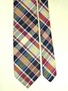 """Vintage Pen West Pendleton Cotton Plaid Red & Blue Tie 56"""" x 3"""" Perfect 27"""