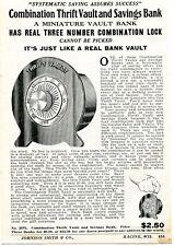 1926 small Print Ad of Miniature Combination Thrift Vault & Savings Bank