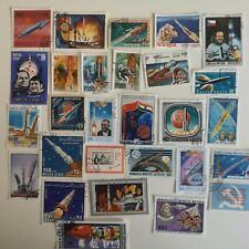 50 Different Space Rockets on Stamps Collection