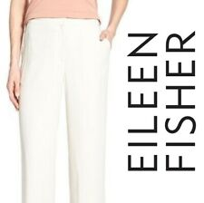 EILEEN FISHER PETITE Pants Stretch Linen Blend Womens 2P Ivory Straight Leg $228