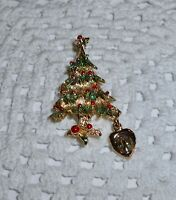 Vintage Enamel Christmas Tree Brooch Pin Mary Immaculate Conception  C173