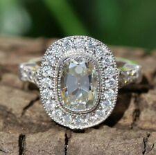 Spectacular Engagement & Wedding Halo Ring 2.4Ct Oval Cut Diamond 14K White Gold
