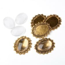 5 Sets Antique Gold Oval Pendant Cabochon Setting Blanks & 40x30mm Glass Cover