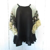 New Umgee Top 1X Black Waffle Knit Floral Ruffle Bell Sleeve Oversized Plus Size