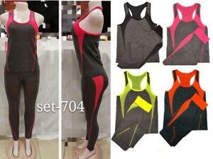 New Ladies Womens Gym Fitness Workout Sports Clothes Yoga Vest & Leggings Set