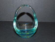 MDINA MALTA TURQUOISE & YELLOW SMALL GLASS BASKET