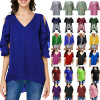 Fashion Womens Short/Long Sleeve Tunic T-Shirt Top Casual Loose Blouse Tee S-5XL
