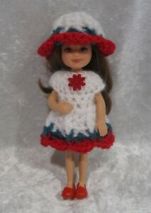 """Made to fit 5½"""" CHELSEA #02 Handmade Clothes, Crochet Dress & Hat Set"""