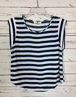 Ya Los Angeles Boutique Women's M Medium Navy White Striped Spring Top Blouse