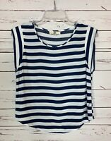 Boutique Ya Los Angeles Women's M Medium White Navy Striped Summer Top Blouse