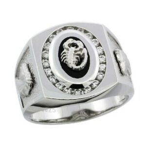 Sterling Silver Men's Black Onyx Scorpion Ring w/CZ Stones & Horse Head on Sides