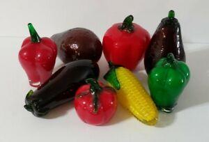 Hand Blown Glass Vegtables Set Of 8 Eggplants Peppers Corn Tomatoes