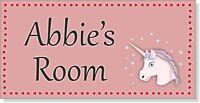 Pink Unicorn Personalised Door Name Plaque Girls Bedroom Room Sign Children (P)