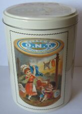 Coats & Clark Tin Container Tall Round Empty O.N.T. Spool Cotton Advertising