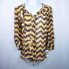 New Democracy Womens Sheer Blouse Size Large Boho Yellow Multicolor Print New