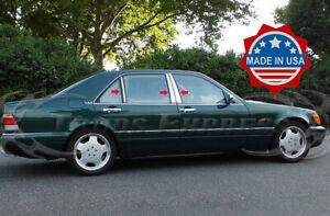 1991-1999 Mercedes S-Class W140 S320 S350 S420 S500 6Pc Chrome Pillar Post Trim