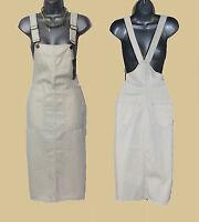 ZARA Off White Ivory Pinafore Tunic Mini Dress Dungaree Skirt size XS  S  M