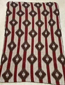 Vintage Woolrich Western Aztec Stadium Blanket Throw Lodge Cabin Burgundy 64x48