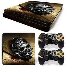 Sony PS4 Playstation 4 Slim Skin Aufkleber Schutzfolie - Cannabis Skull Motiv