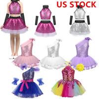 US Girls Ballet Dress Dance Leotard Sequins Tutu Skirt Ballerina Dancing Costume