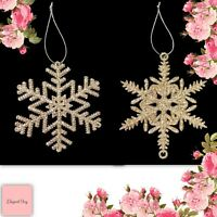6 GOLD CHRISTMAS SNOWFLAKE DECORATIONS snow flakes stars tree hampers gifts