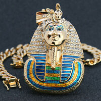 "Ebros Large Pendant Pharaoh King Tut Gold Pt 20"" Fully Cz Cuban Choker Chain"