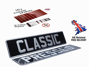 X2 Classic Black & Silver Metal Pressed Car Number Plates, Free Sticky Pads