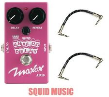 Maxon AD10 Analog Delay Guitar Pedal Compact Series ( 2 FENDER PATCH CABLES )